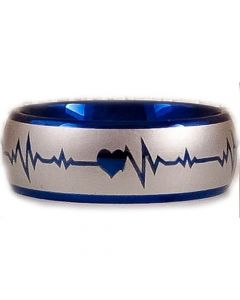 COI Titanium Heartbeat & Heart Dome Court Ring-2887