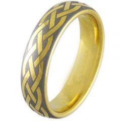 COI Gold Tone Titanium Celtic Dome Court Ring - 2908