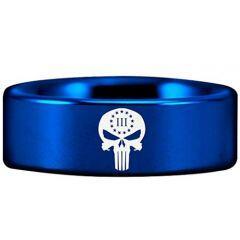COI Blue Titanium Skull Pipe Cut Flat Ring-2914