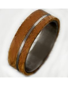 COI Titanium Pipe Cut Flat Ring With Wood-2994