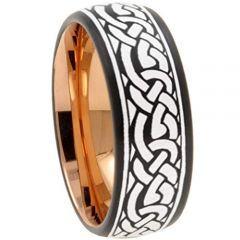 COI Titanium Black Rose Celtic Dome Court Ring - 3043