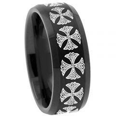 COI Black Titanium Cross Beveled Edges Ring - 3137