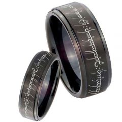 *COI Black Titanium Lord of The Ring Step Edges Ring - JT3394AA