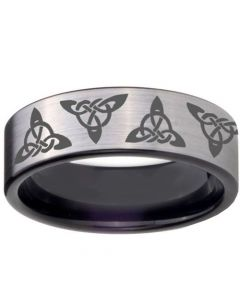 COI Titanium Triquetra Trinity Knots Pipe Cut Ring-JT5140