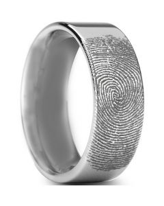 COI Titanium Custom Fingerprint Pipe Cut Flat Ring - JT976