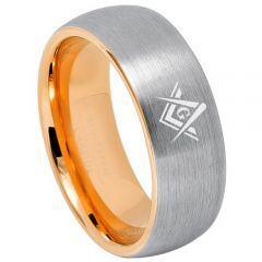 *COI Titanium Gold Tone Silver Masonic Dome Court Ring - 3240