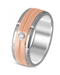 COI Titanium Rose Silver Tire Tread Cubic Zirconia Ring-325