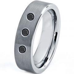 COI Titanium Pipe Cut Ring With Genuine Black Diamonds-3263