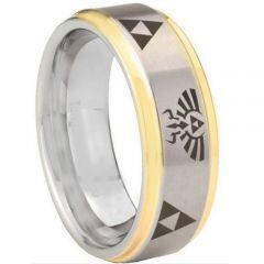*COI Titanium Gold Tone Silver Legend of Zelda Ring-3321