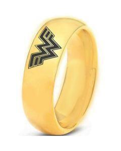 *COI Gold Tone Titanium Wonder Woman Dome Court Ring - 3346
