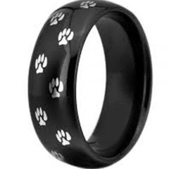 COI Black Titanium Paws Track Dome Court Ring - 3366