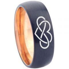 *COI Titanium Black Rose Infinity Heart Dome Court Ring - 3374