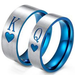 COI Titanium King Queen Heart Pipe Cut Flat Ring - 3428