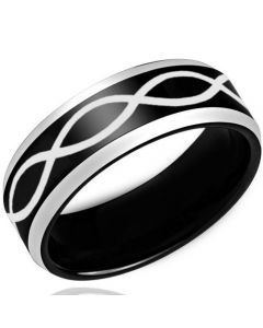 COI Titanium Black Silver Infinity Beveled Edges Ring - 3443