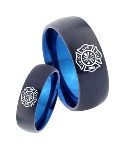 COI Titanium Black Blue Firefighter Dome Court Ring - 3465