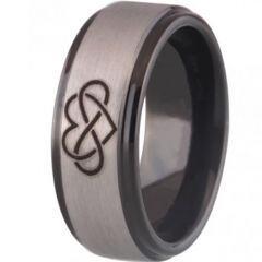 COI Titanium Black Silver Infinity Heart Step Edges Ring - 3471
