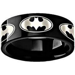 COI Black Titanium Batman Pipe Cut Flat Ring - 3494BB