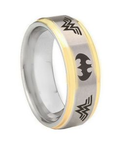 *COI Titanium Batman & Wonder Woman Step Edges Ring-JT3574