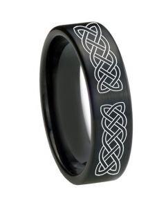 COI Black Titanium Celtic Pipe Cut Flat Ring - 3577