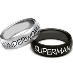 COI Titanium SuperMan & Wonder Woman Dome Court Ring - 3642