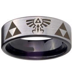 COI Titanium Triforce Legend of Zelda Pipe Cut Flat Ring-3647