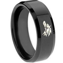 COI Black Titanium Wolf Beveled Edges Ring - 3688