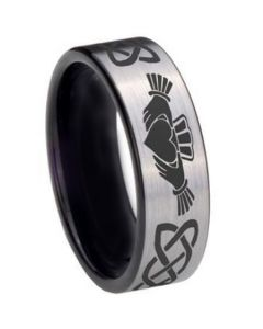 *COI Titanium Black Silver Mo Anam Cara Celtic Pipe Cut Ring-3695