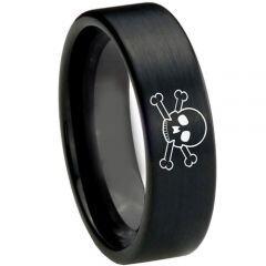 COI Black Titanium Skull Pipe Cut Flat Ring - 3726