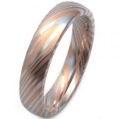COI Titanium Rose Silver Damascus Dome Court Ring - 3752