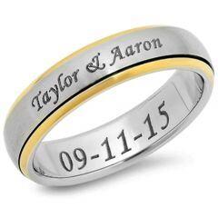 COI Titanium Step Edges Ring With Custom Names Engraving - 3850