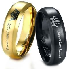 COI Titanium King Queen Crown Ring With Custom Engraving-3887