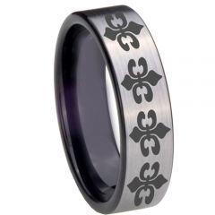 COI Titanium Black Silver Fleur De Lis Pipe Cut Flat Ring - 3889