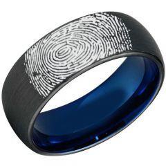 COI Titanium Black Blue Ring With Custom FingerPrint - 3907