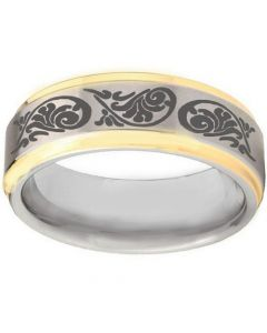 COI Titanium Gold Tone Silver Tribal Pattern Step Edge Ring-3967