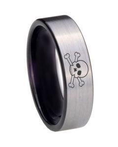 COI Titanium Black Silver Skull Pipe Cut Flat Ring - 3973