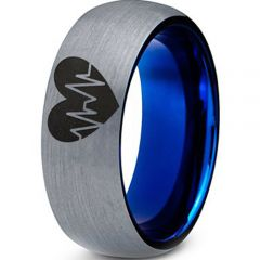 COI Titanium Heartbeat & Heart Dome Court Ring - 3977