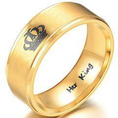 *COI Gold Tone Titanium King Crown Step Edges Ring - 3988