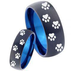 COI Titanium Black Blue Paws Track Print Dome Court Ring-4038