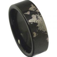 COI Black Titanium Map Pipe Cut Flat Ring - 4040