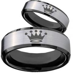 COI Titanium Black Silver King Crown Beveled Edges Ring-4074