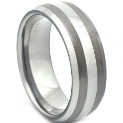 COI Titanium Double Lines Dome Court Ring - JT1930AA