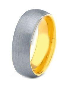COI Titanium Gold Tone Silver Dome Court Ring - JT3385