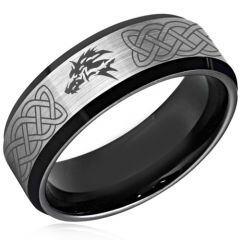 *COI Titanium Black Silver Wolf Celtic Beveled Edges Ring-4379