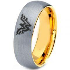 COI Titanium Gold Tone Silver Wonder Woman Dome Court Ring-4428
