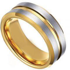 COI Titanium Gold Tone Silver Center Groove Ring-4475