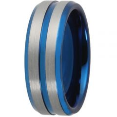 COI Titanium Blue Silver Center Groove Beveled Edges Ring-4476