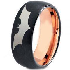 COI Titanium Black Rose Batman Dome Court Ring - 4477