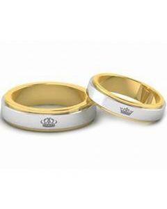 *COI Titanium Gold Tone King Queen Crown Step Edges Ring-4479