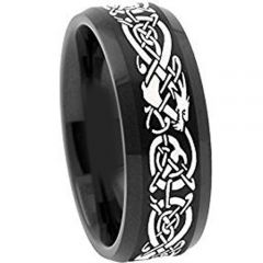 COI Black Titanium Dragon Beveled Edges Ring - 4488