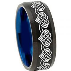 COI Titanium Black Blue Heart Beveled Edges Ring - 4492